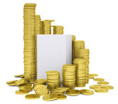 Cube inside a stack of gold coins — Stock Photo