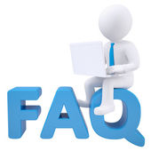 3d white man with laptop sitting on the word FAQ — Stock Photo