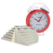 Stacks of dollars and a red alarm — Stock Photo