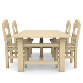 Wooden table and chairs — Stock Photo