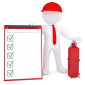 3d man with fire extinguisher and checklist — Stock Photo