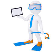 3d man in flippers holding tablet — Stock Photo