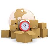 Alarm clock, a box, a planet — Stock Photo