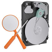 Hard drive, screwdriver and magnifying glass — Stock Photo