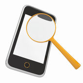 Smartphone and a magnifying glass — Stock Photo