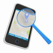 Smartphone con mapa y lupa — Foto de Stock