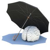Umbrella covers the brain — Stock Photo