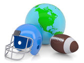 地球・ フットボール用ヘルメット ・ ボール — ストック写真