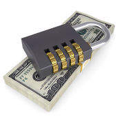 Combination lock on a pack of dollars — Stock Photo
