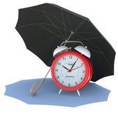 Umbrella covers the alarm clock — Stock Photo