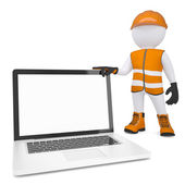 3d white man in overalls holding a laptop — Stock Photo