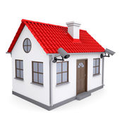 A small house with security cameras — Stock Photo