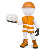 3d white man in overalls holding a brain — Stockfoto