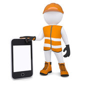 3d white man in overalls holding a smartphone — Stock Photo