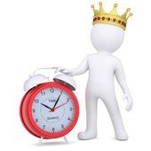 3d white man with crown holding a red alarm clock — Stock Photo