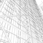 Skyscraper rendering in lines — Stock Photo