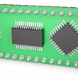Computer board with chips and USB output — Foto Stock