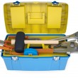 Plastic tool box with tools — Stock Photo