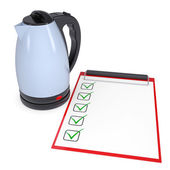 Electric kettle and checklist — Stock Photo