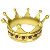 Gold crown decorated with rubies — Stock Photo