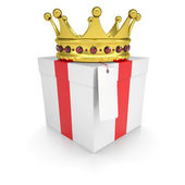 A gift with a crown — Stock Photo
