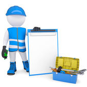 3d white man in overalls with checklists and tools — Stock Photo