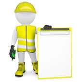 3d man in overalls with a checklist and a marker — Stock Photo