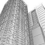 Skyscraper rendering in lines — Stock Photo #27361945