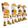 Four 3d white mans in overalls with a tools — Stock Photo