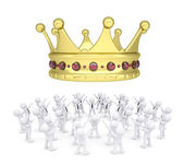 Group of white people worshiping crown — Stock Photo