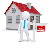 White 3d human and small house with sign a lease — Stock Photo