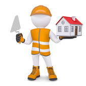 3d man in overalls with trowel and house — Stock Photo