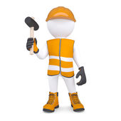 3d white man in overalls with a hammer — Stock Photo