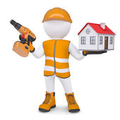 3d man in overalls with screwdriver and house — Stock Photo