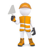3d white man in overalls with a trowel — Stock Photo