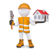 3d man in overalls with wrench and house — Stock Photo