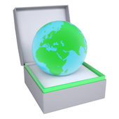 Earth in open gift box — Stock Photo