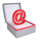 Email sign in open gift box — Stock Photo