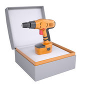 Electric screwdriver in open gift box — Stock Photo