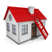 Small house with a label for the rent — Stock Photo