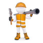 3d man in overalls with screwdriver and sewer pipe — Stock Photo