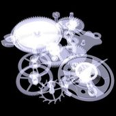 Clock mechanism. X-ray render — Stock Photo