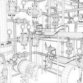 工业设备。线框矢量 — 图库矢量图片