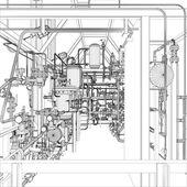 Industrial equipment. Wire-frame vector — Stock Vector