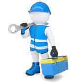 3d man with wrench and tool box — Stock Photo