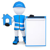 3d white man in overalls with house ico — Stock Photo