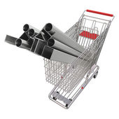 Metal rolling in a basket for shopping — Stock Photo