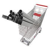 Plechů v košíku pro nákupy — Stock fotografie