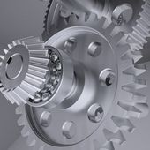 Metal shafts, gears and bearings — Stock Photo