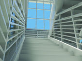 Architecture: staircase and windows — Stock Photo